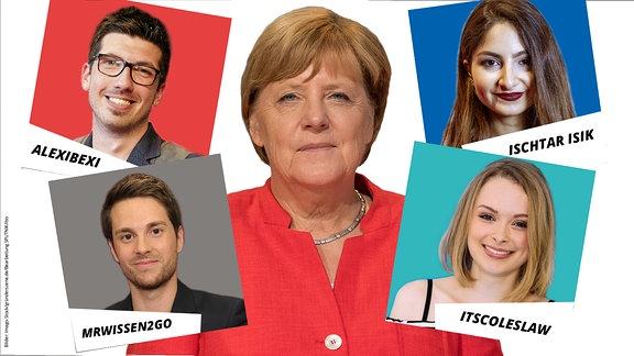 Collage Kanzlerin Merkel und YouTuber (AlexiBexi, Ischtar Isik, MrWissen2go und ItsColeslaw