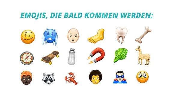 Auswahl von den demnächst neu erscheinenden Emojis