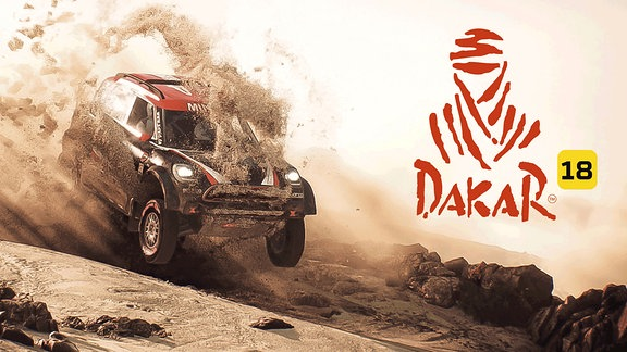 Logo und Screenschot des Games Dakar 18 (für Windows PC, Xbox One, Playstation 4)