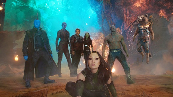 Guardians of the Galaxy Vol.2 | die Helden von links: Yondu, Nebuls, Star-Lord, Gamora, Drax, Raccoon, Groot und Mantis