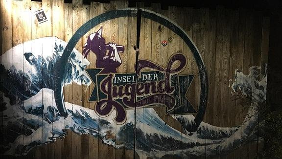 Malerei mit Logo der Insel der Jugend