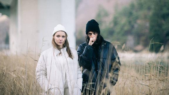 Das österreichische Pop-Duo Anger mit den Mitgliedern Julian Angerer und Nora Pider.