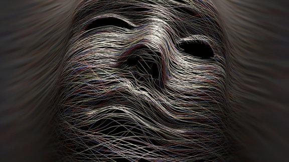 Mystische Gesichtsmaske aus Fäden