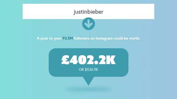 So viel verdient Justin Bieber pro Instagram-Post laut Inkifi.