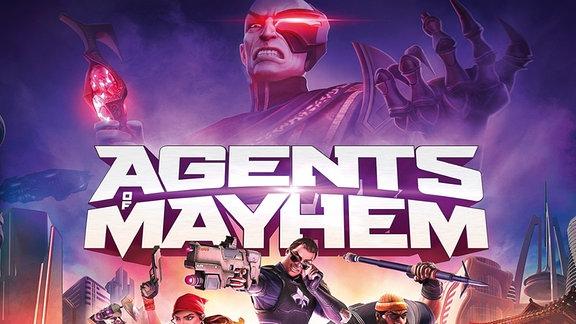Auf dem Bild sind die Protagonisten des Spiels Agents of Mayhem mit verschiedenen Waffen zu sehen