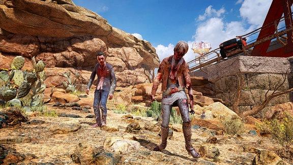 Zwei Zombies stehen vor einem Felsen