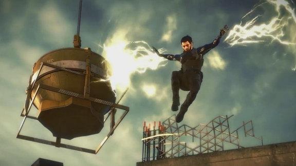 """Screenshot aus dem Game """"Deus Ex: Mankind Divided"""": Die Hauptfigur springt über die Kante eines Hochhausdaches."""