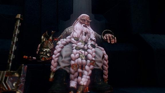 Ein alter Zwerg auf einem Thron