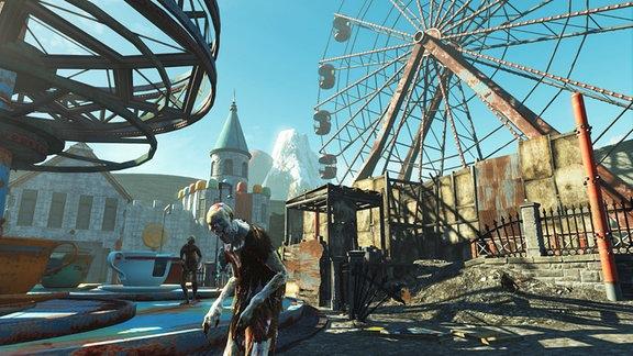 """Szene aus dem Action-Rollenspiel """"Fallout 4: Nuka-World"""""""