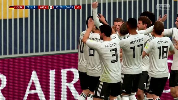 Deutsche Fußballnationalmannschaft beim Jubeln im Spiel FIFA18.
