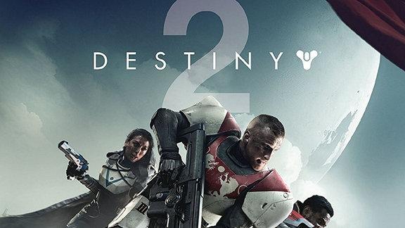 Männer und Frauen in SF-Anmutung mit Waffen - über ihnen das Logo des Computerspiels Destiny two.