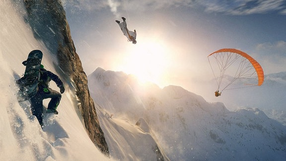 """Szene aus dem Snowboardspiel """"Steep"""""""