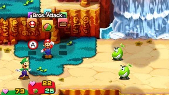 """Ein Ausschnitt aus dem Spiel """"Mario& Luigi: Superstar Saga +  Bowsers Schergen"""""""