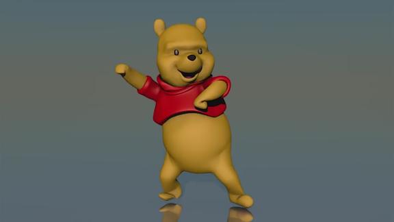 Die dreidimensional-animierte Disney-Figur Winnie Puuh tanzt.