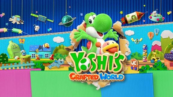 """Titelbild des Spiels """"Yoshi's Crafted World""""."""