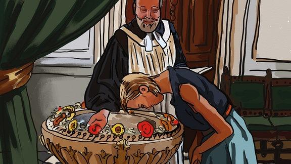Zeichnung: SPUTNIKerin Jessica wird getauft.