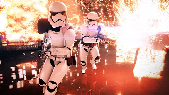"""Zwei Stormtrooper aus dem Game """"Star Wars Battlefield 2"""" rennen vor einer Explosion davon."""