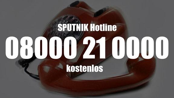 Ein rotes Telefon mit der Telefonnummer von MDR SPUTNIK: 08000 21 0000