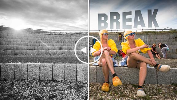 In Holländer-Tracht verkleidete Festivalgäste auf dem SPUTNIK SPRING BREAK