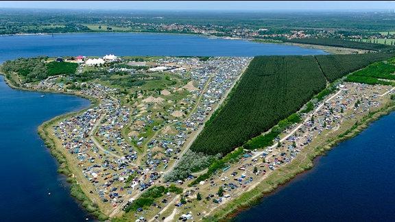 Blick auf das SPUTNIK SPRING BREAK-Gelände aus der Luft