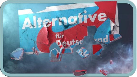 Das Logo der AfD zerfällt vor einem nebligen Hintergrund.