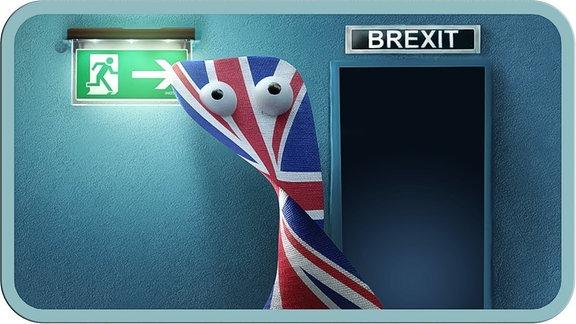 Eine britische Fahne will durch eine Tür gehen. Über der Tür das Schild Brexit.